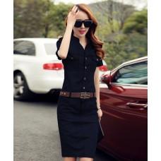 Đầm jean Denim tay ngắn - D4037