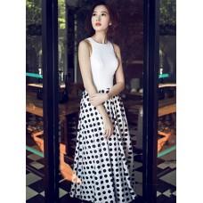 Đầm Hoa Hậu Thu Thảo Chấm Bi Sang Trọng - 1978
