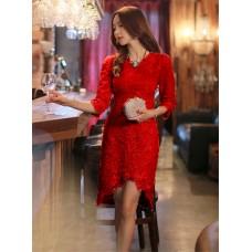 Đầm Ren Tay Lở Lai Chữ V - 2021