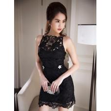 Đầm Ngọc Trinh Ren Đính 2 Hoa Mai -2033