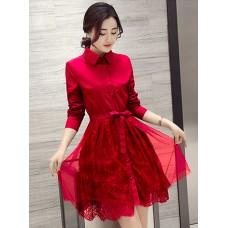 Đầm Xòe Cổ Sơ Mi Tay Dài -2037