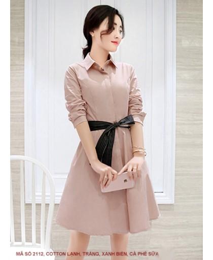 Đầm Xòe Cột Nơ Eo Tay Lỡ - 2113