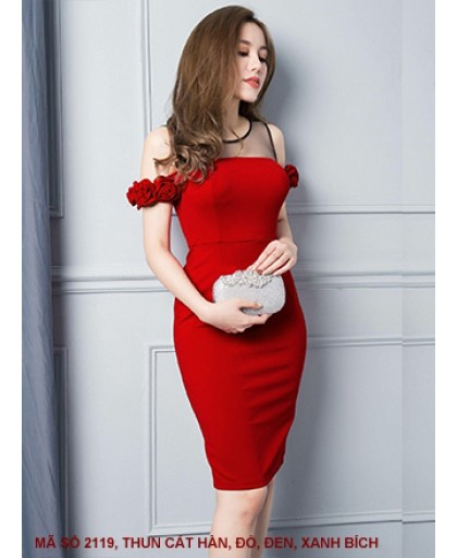 Đầm Rớt Vai Hoa Hồng - 2119
