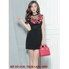 Đầm Sát Nách Đính Hoa Hồng - 2120