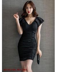 Đầm Cổ Tim Nhún Tay - 2185