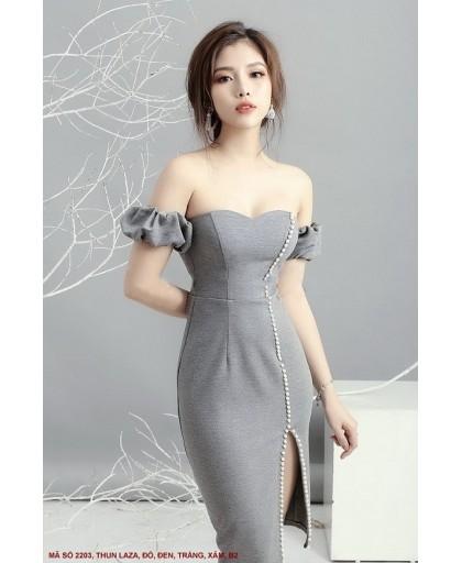 Đầm Rớt Vai Xẻ Đùi Đính Ngọc Trai - 2203