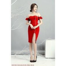 Đầm Rớt Vai Xẻ Đùi Đính Ngọc Trai -2203