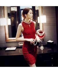 Đầm Ren Cổ Lọ Đính Chuỗi Ngọc Trai - 35