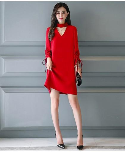 Đầm cổ V tay dài xinh xắn - D9017
