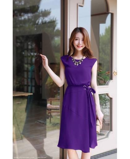 Đầm Châu Tôn Thắt Nơ Eo Sang Trọng -D9019