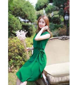 Đầm Châu Tôn Thắt Nơ Eo Sang Trọng - D9019