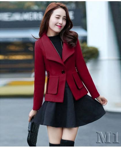Áo khoác dạ ngắn kèm cổ lông cá tính -Ak5107