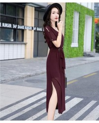 Đầm Xẻ Sọc Hai Bên Chân  -D9016