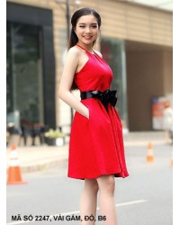Đầm Xòe Cột Nơ Eo -2247