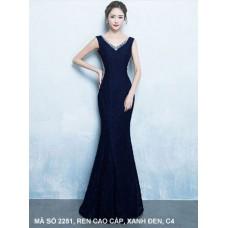 Đầm Dạ Hội Cổ Tim Đính Kim Sa - 2251