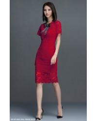 Đầm Ren Tay Loe Cổ Thắt Nơ -2266