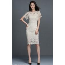 Đầm Ren Tay Loe Cổ Thắt Nơ- 2266