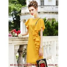 Đầm Dún Vai Đính Bèo Bên Hông - 2274