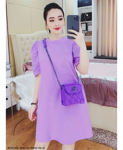 ĐẦM SUÔNG TAY PHỒNG CÓ 2 TÚI HÔNG - 2446