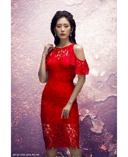 Đầm Ren Vai Hở Tay Nhún  - Mã số :2208