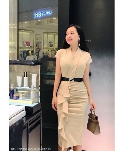 ĐẦM CỔ TIM CHÉO TAY NGẮN DÚN TỪ EO XUỐNG LAI - 2351