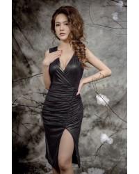 Đầm Thun Kim Tuyến Cổ V -153