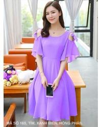 Đầm Xòe Cột Nơ Vai - 165